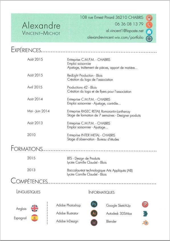 CV-alexandre vincent michot – Design produits
