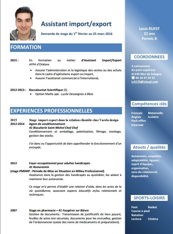 cv  export demande de stage